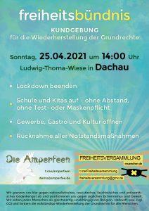 1. Freiheitsbündnis-Kundgebung am 25.04.2021 in Dachau